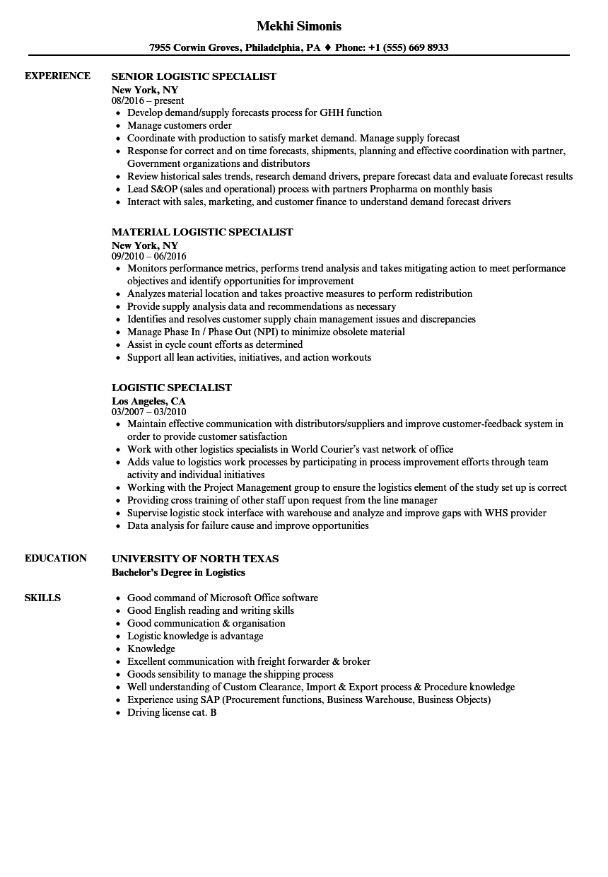 Captivating Download Logistic Specialist Resume Sample As Image File