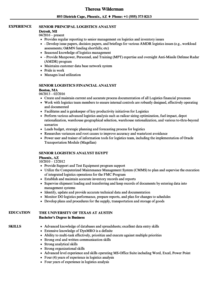 logistics analyst senior resume samples