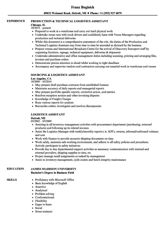 Logistics Assistant Resume Samples | Velvet Jobs