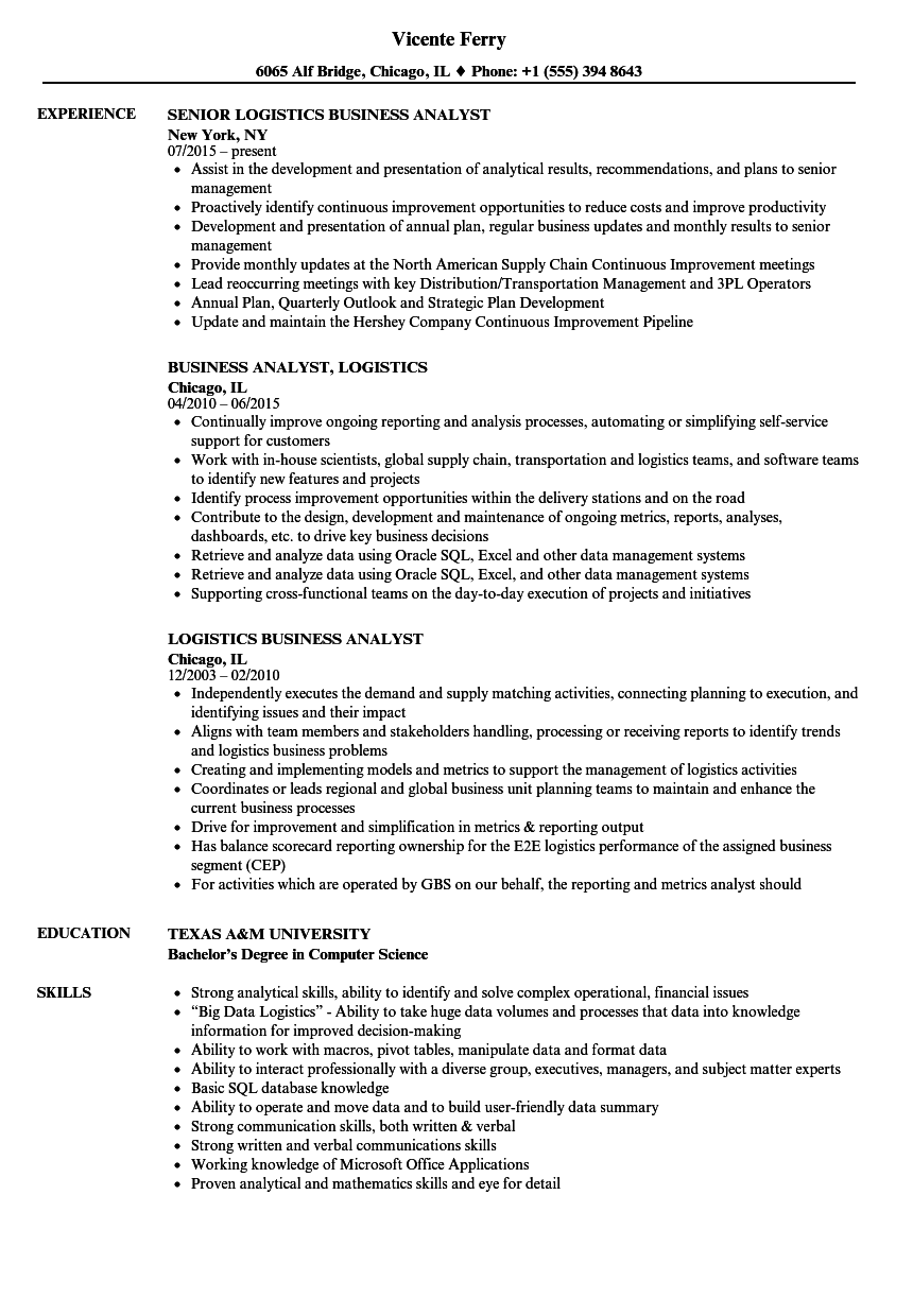 logistics business analyst resume samples