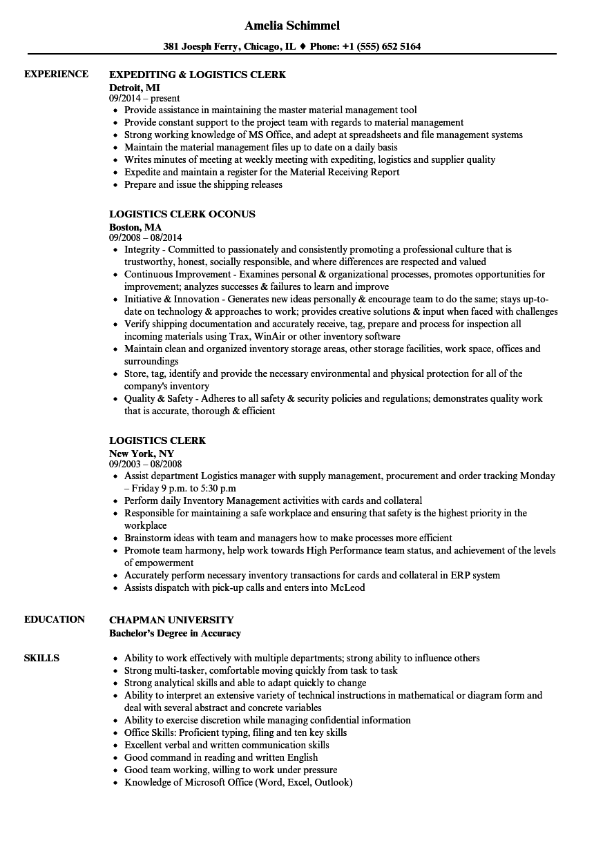 Logistics Clerk Resume Samples | Velvet Jobs