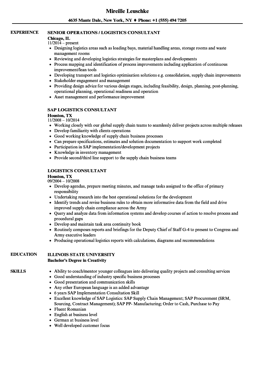 Logistics Consultant Resume Samples | Velvet Jobs