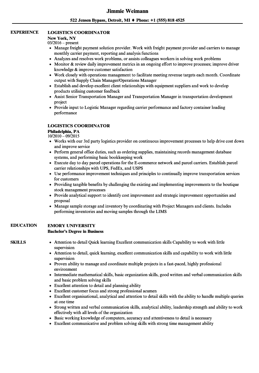 Logistics Coordinator Resume Samples | Velvet Jobs