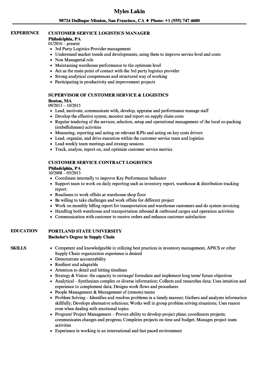 Logistics Customer Service Resume Samples Velvet Jobs