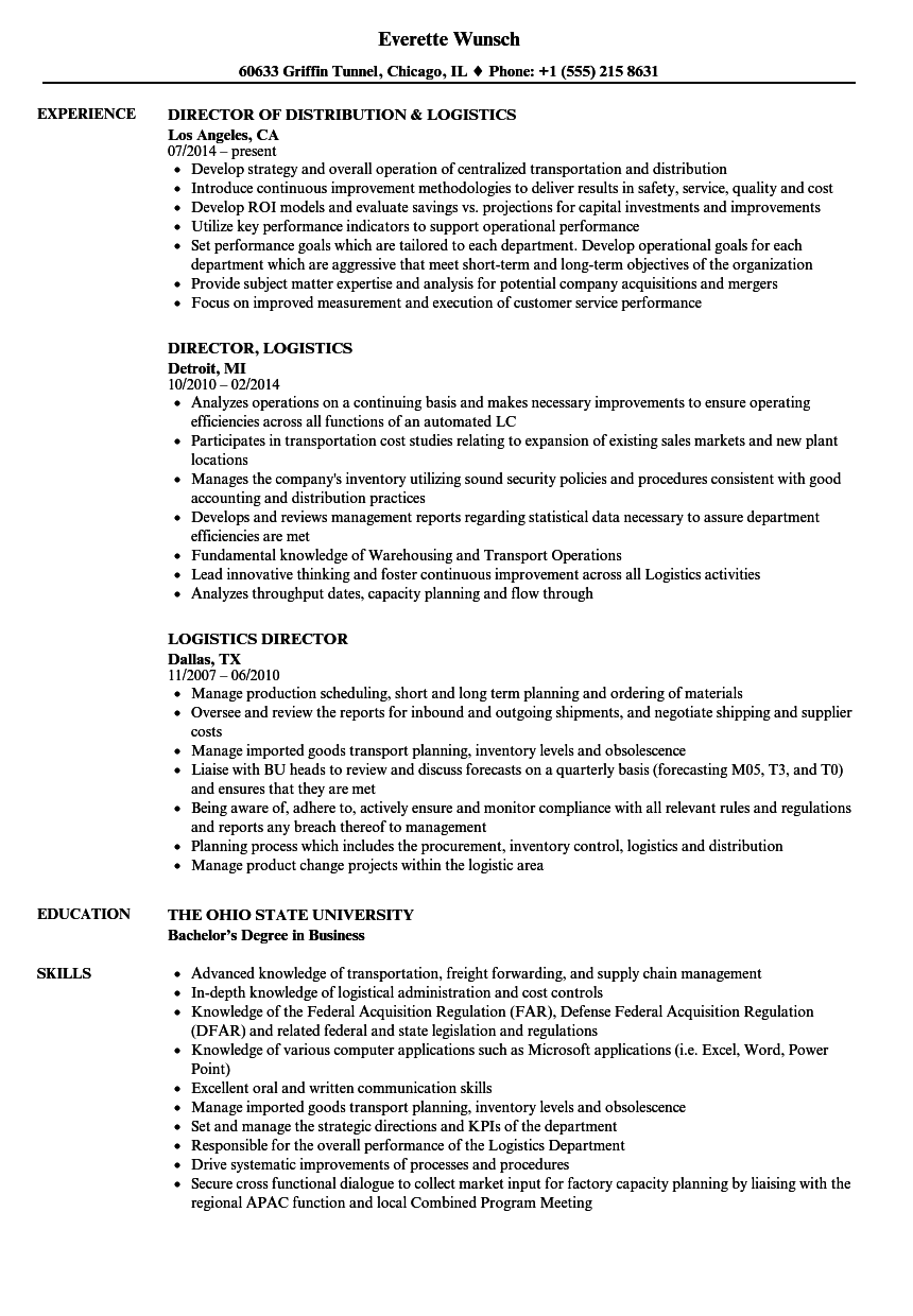 logistics director resume samples velvet jobs