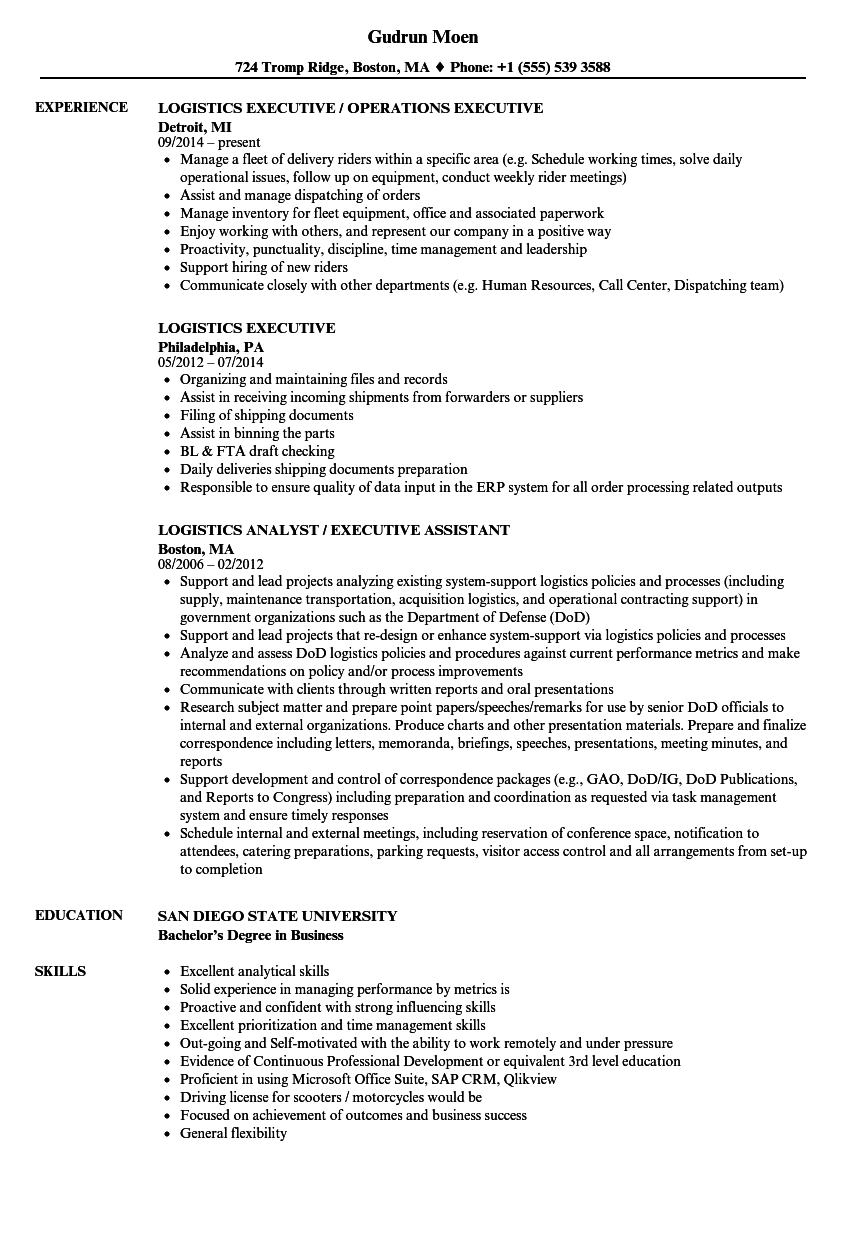 Logistics Executive Resume Samples | Velvet Jobs