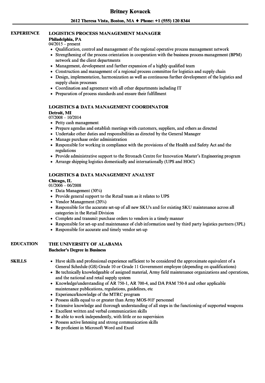 Logistics Management Resume Samples | Velvet Jobs