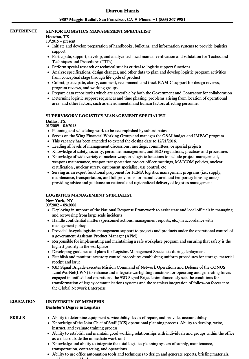 logistics management specialist resume samples
