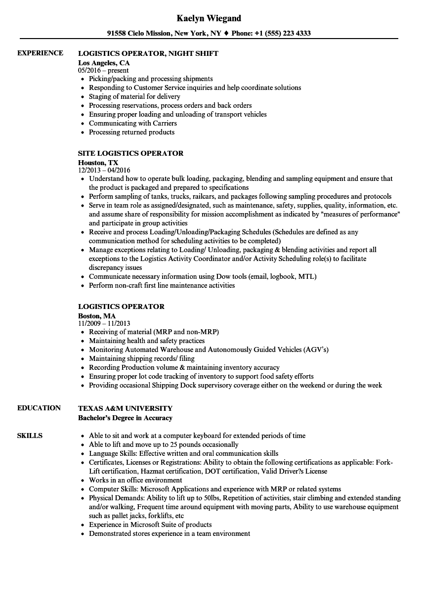 sample resume for assembly line operator - logistics operator resume samples velvet jobs
