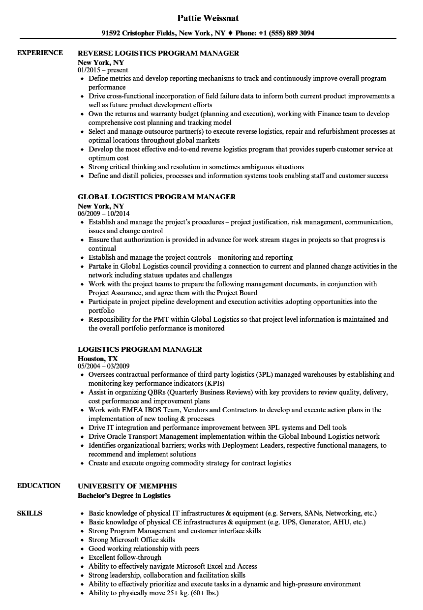 logistics program manager resume samples