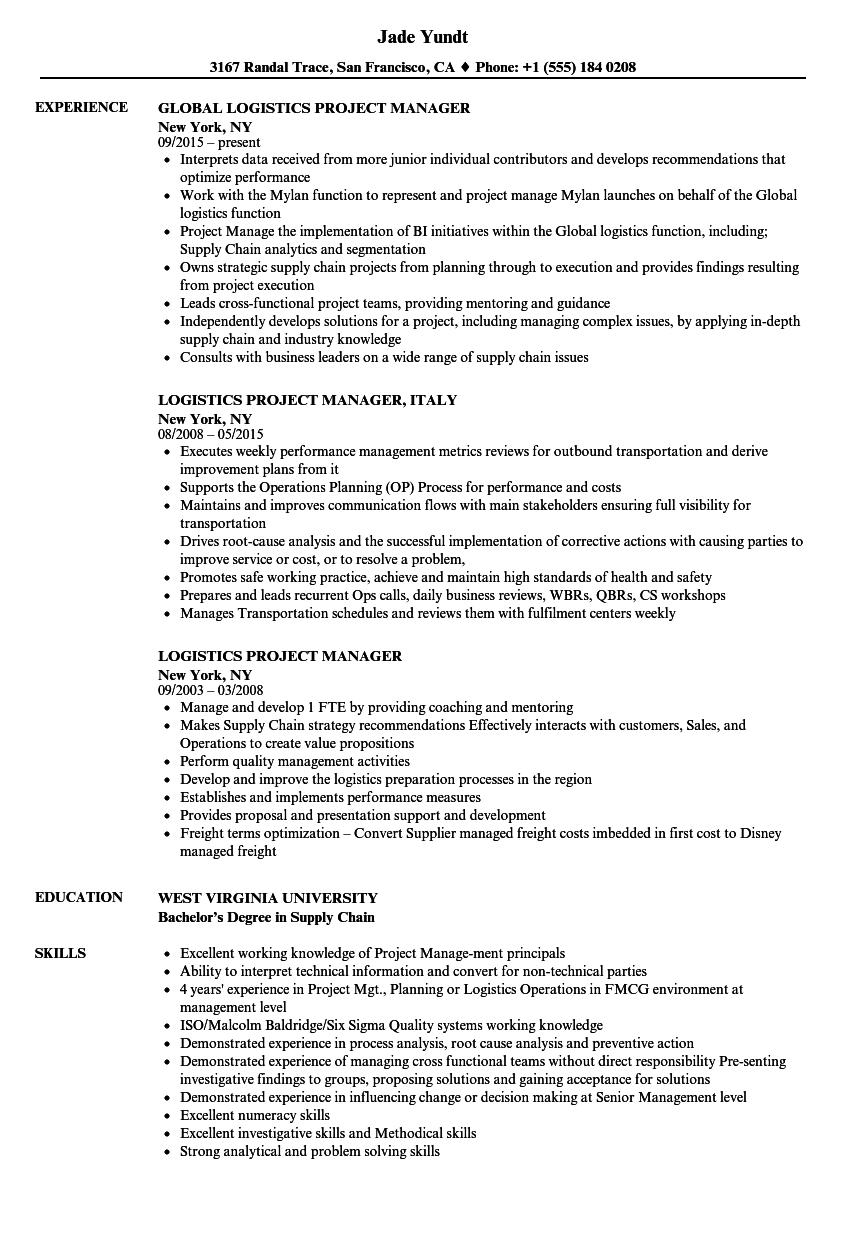 logistics project manager resume samples