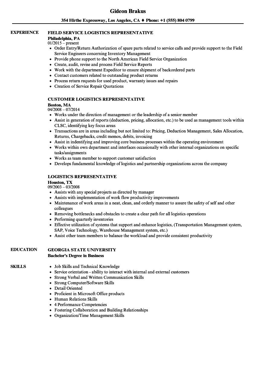 logistics representative resume samples