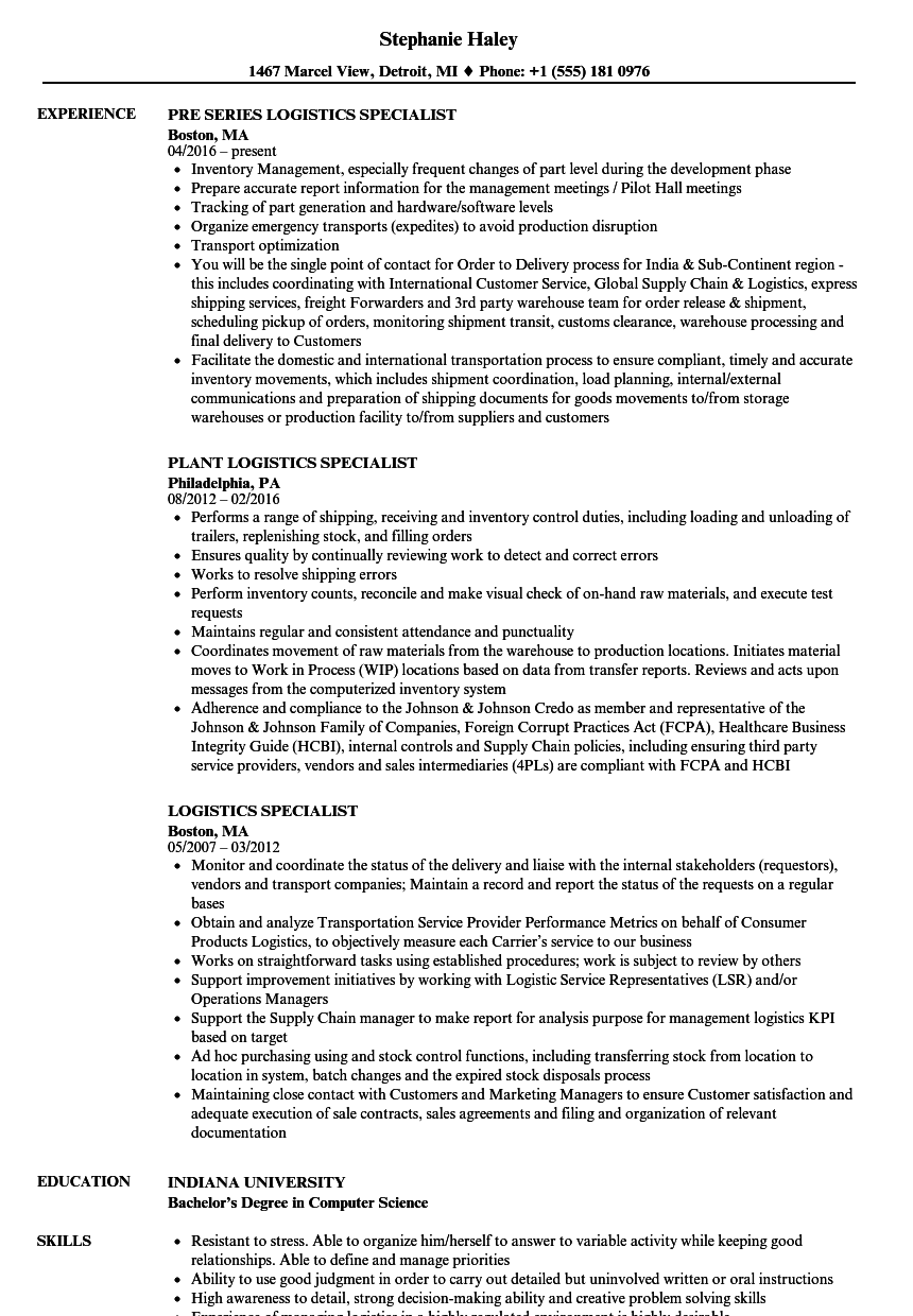 Logistics Specialist Resume Samples | Velvet Jobs