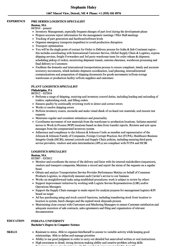 Resume For Logistics Job