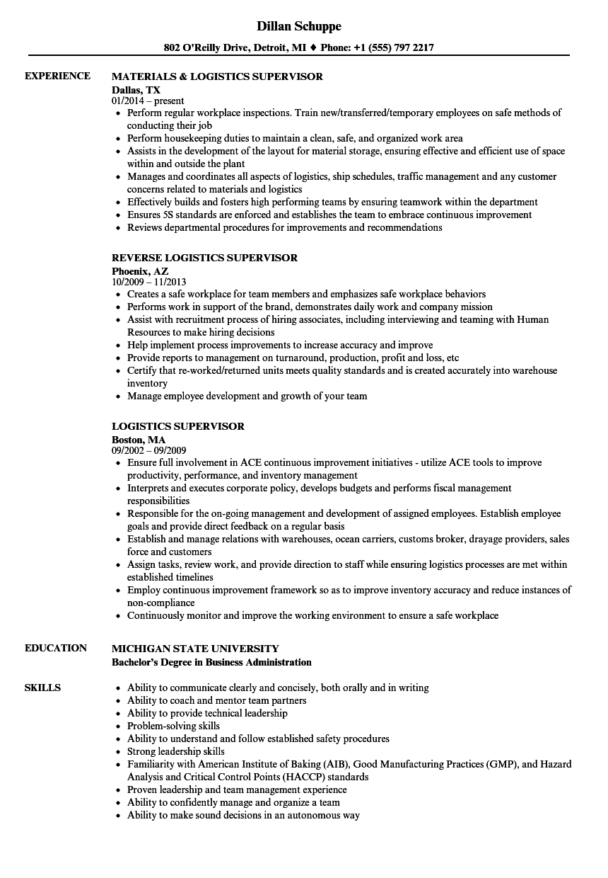 Logistics Supervisor Resume Samples | Velvet Jobs