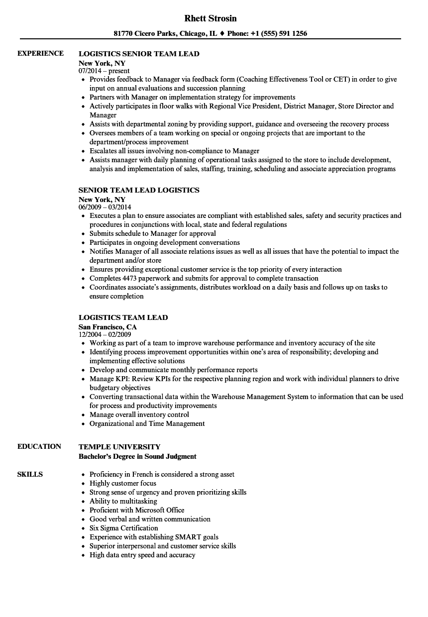 Logistics Team Lead Resume Samples | Velvet Jobs