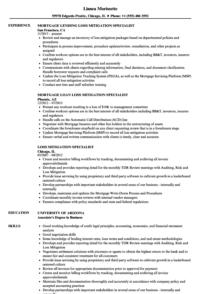 loss mitigation specialist resume samples