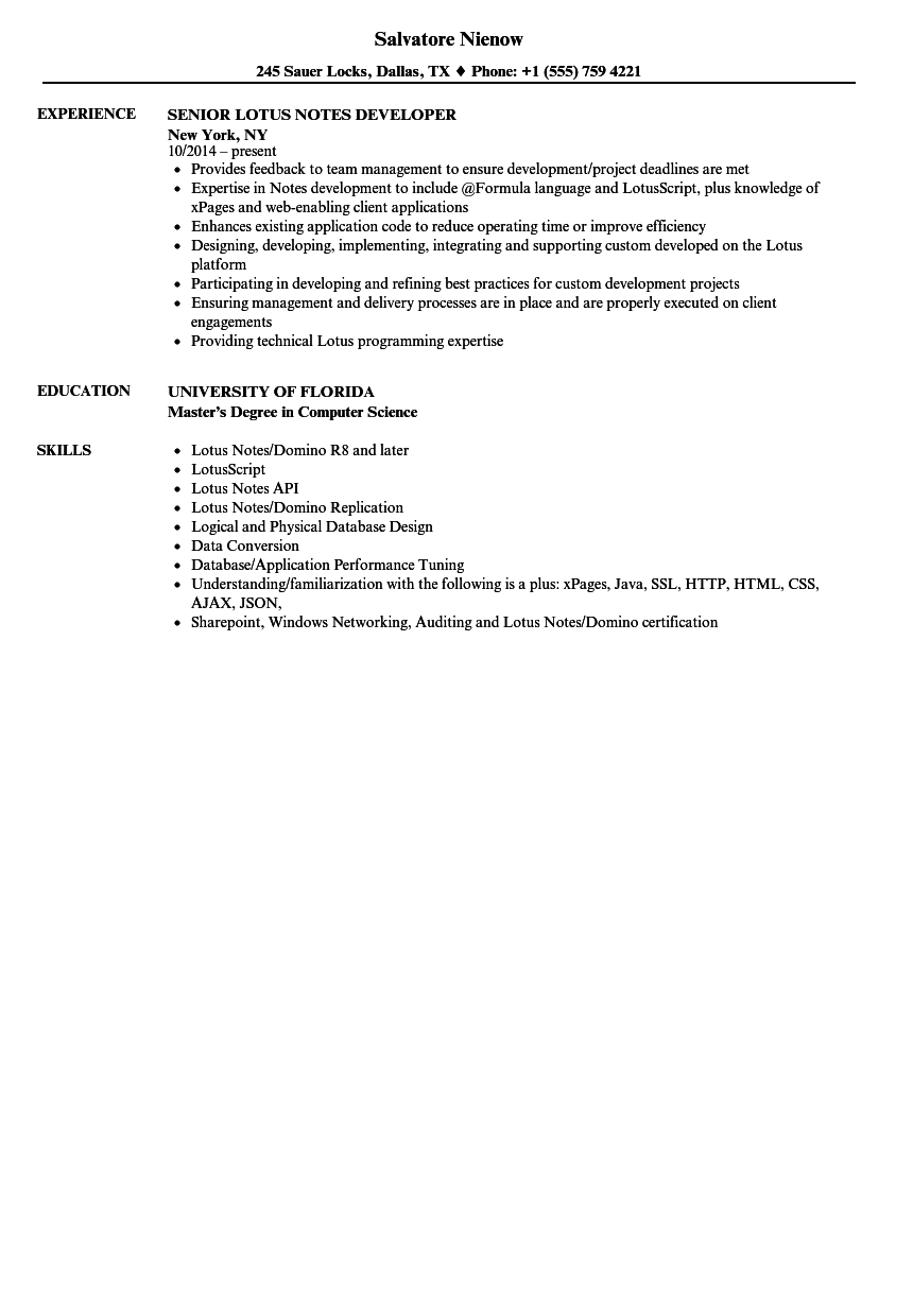 Lotus Notes Developer Resume Sle Lotus Notes Developer Resume Sles Velvet
