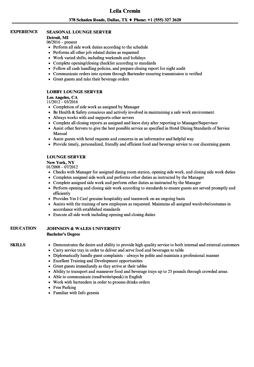 Lounge Server Resume Samples | Velvet Jobs