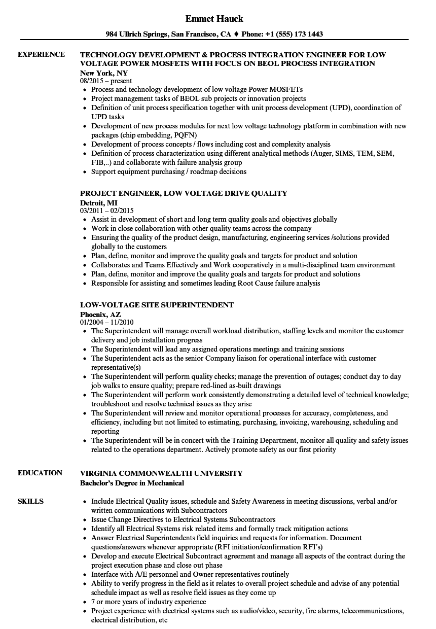 Low Voltage Resume Samples Velvet Jobs