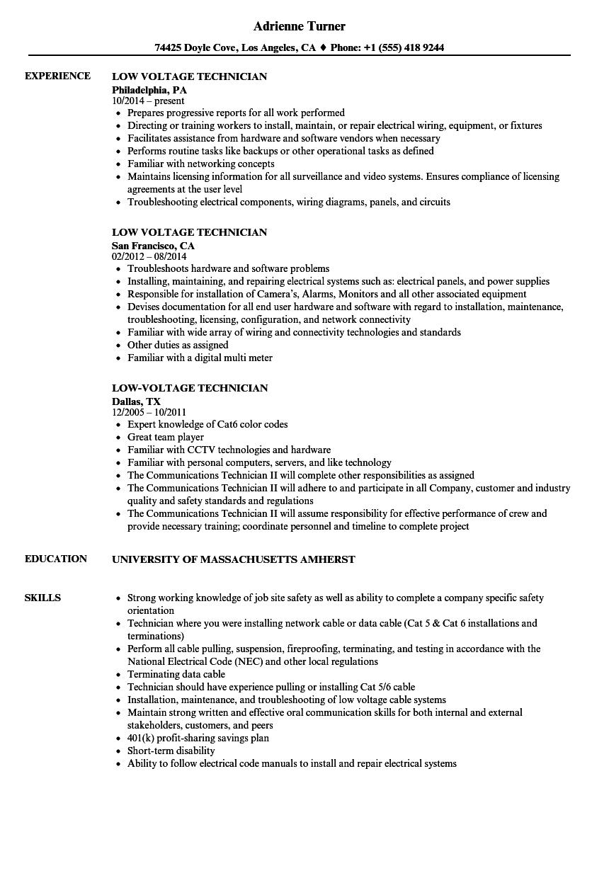 Low Voltage Electrician : Low voltage technician resume samples velvet jobs