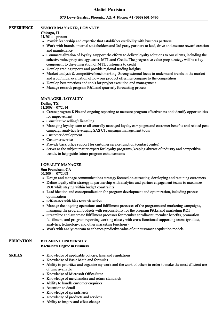 Loyalty Manager Resume Samples | Velvet Jobs