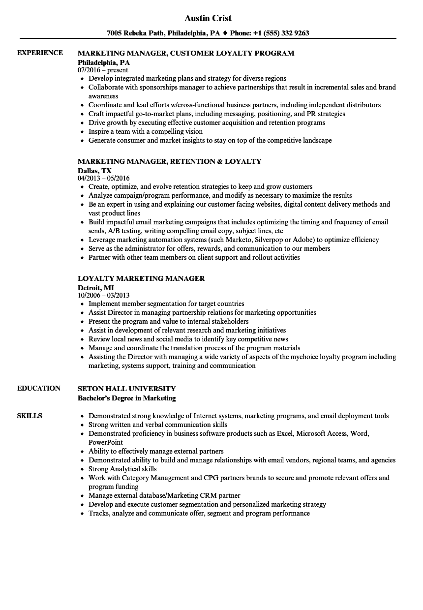 loyalty marketing manager resume samples velvet jobs