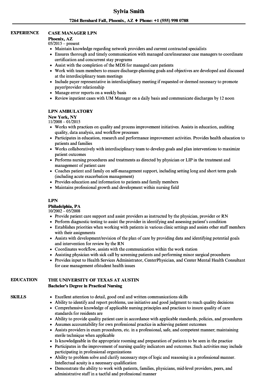 lpn resume samples velvet jobs