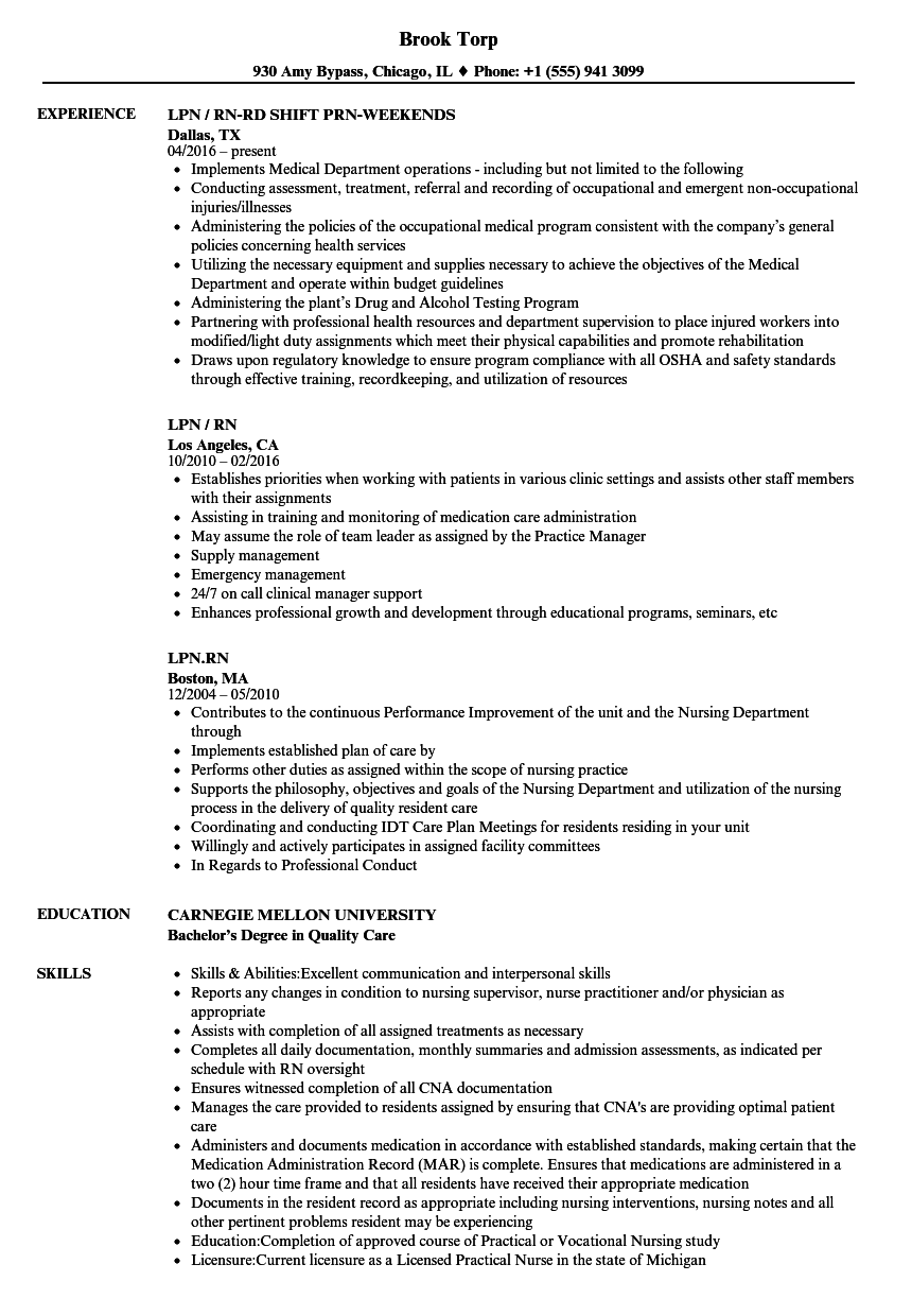 lpn rn resume samples velvet jobs