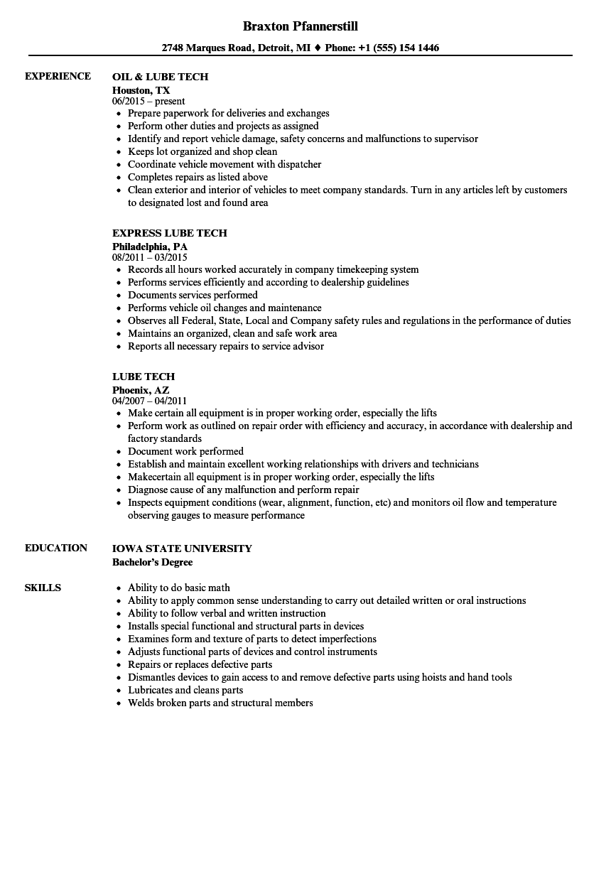 Lube Tech Resume Samples Velvet Jobs