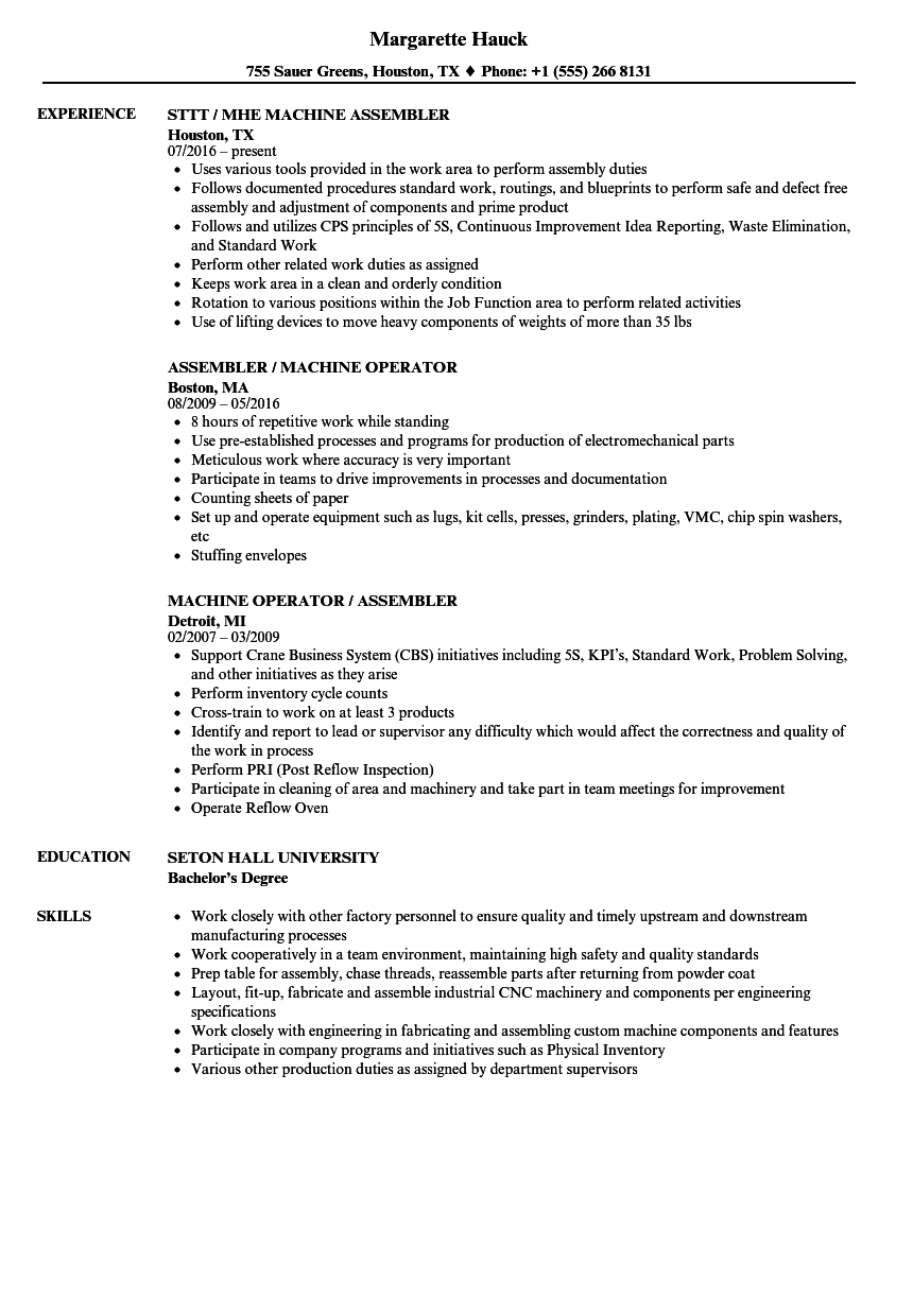 Machine assembler resume samples velvet jobs for Sample resume for machine operator position