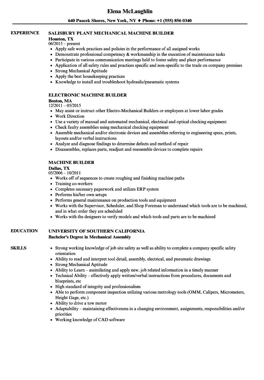 machine builder resume samples