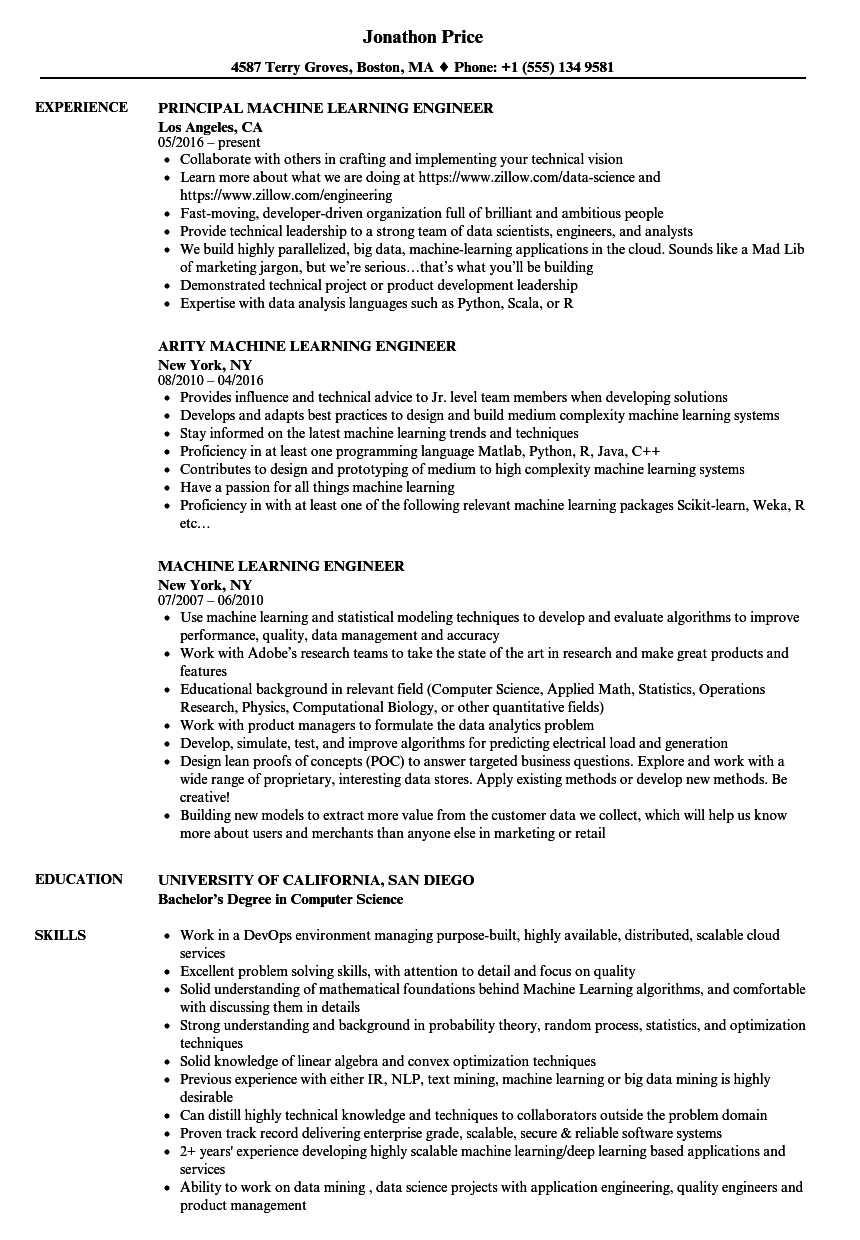 Download Machine Learning Engineer Resume Sample as Image file