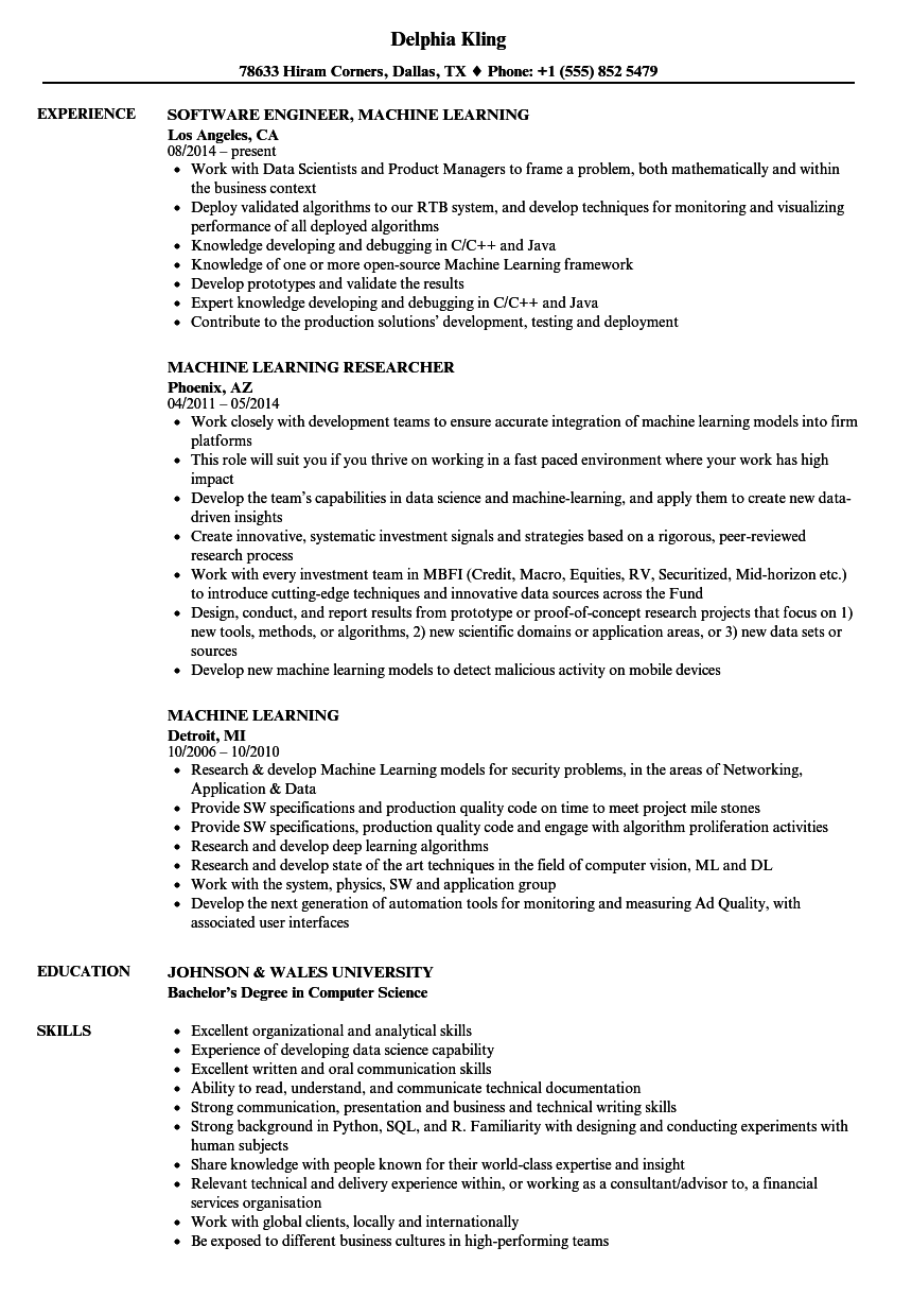 machine learning resume samples velvet jobs