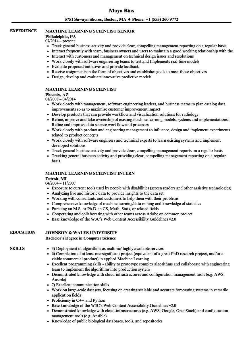 machine learning scientist resume samples
