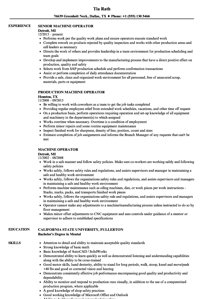 Velvet Jobs  Machine Operator Resume