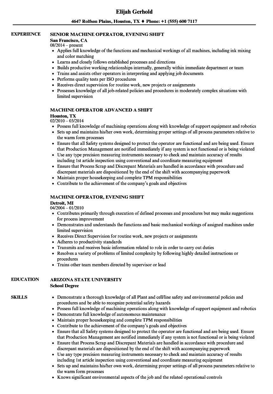 machine operator shift resume samples