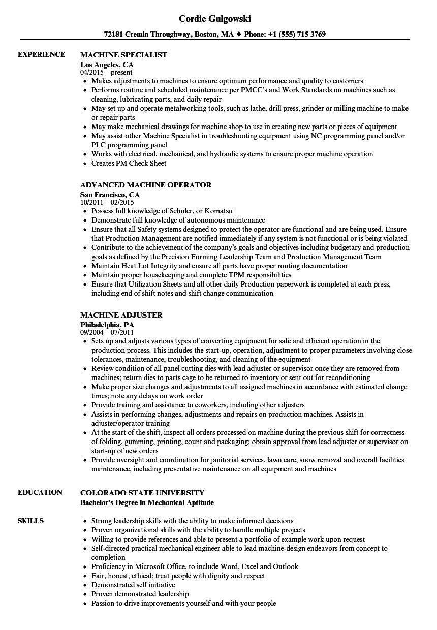 Machine Resume Samples | Velvet Jobs