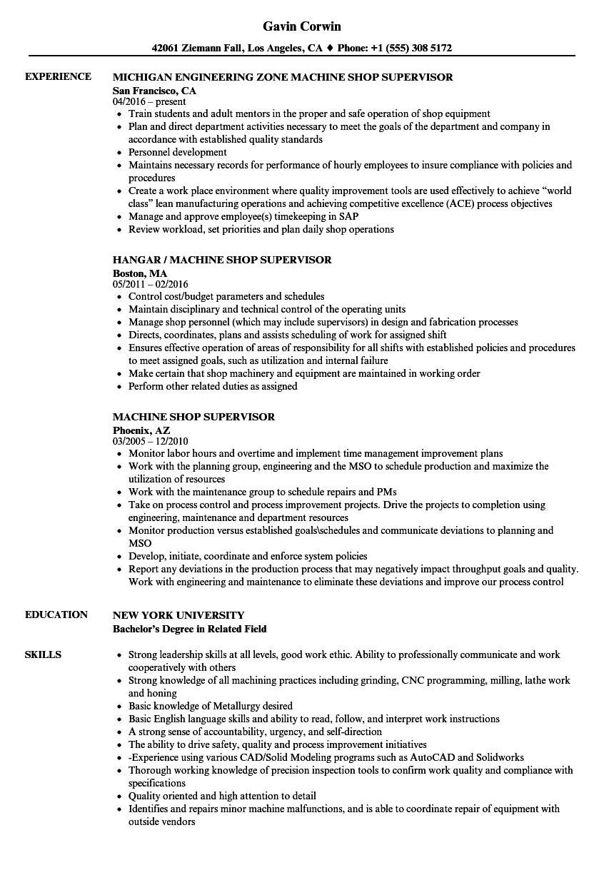 Machine Shop Supervisor Resume Samples | Velvet Jobs