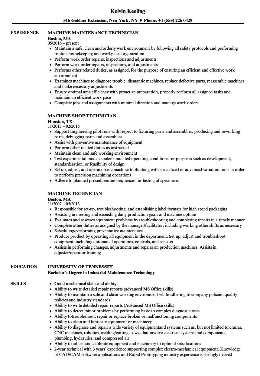 Machine Technician Resume Samples | Velvet Jobs