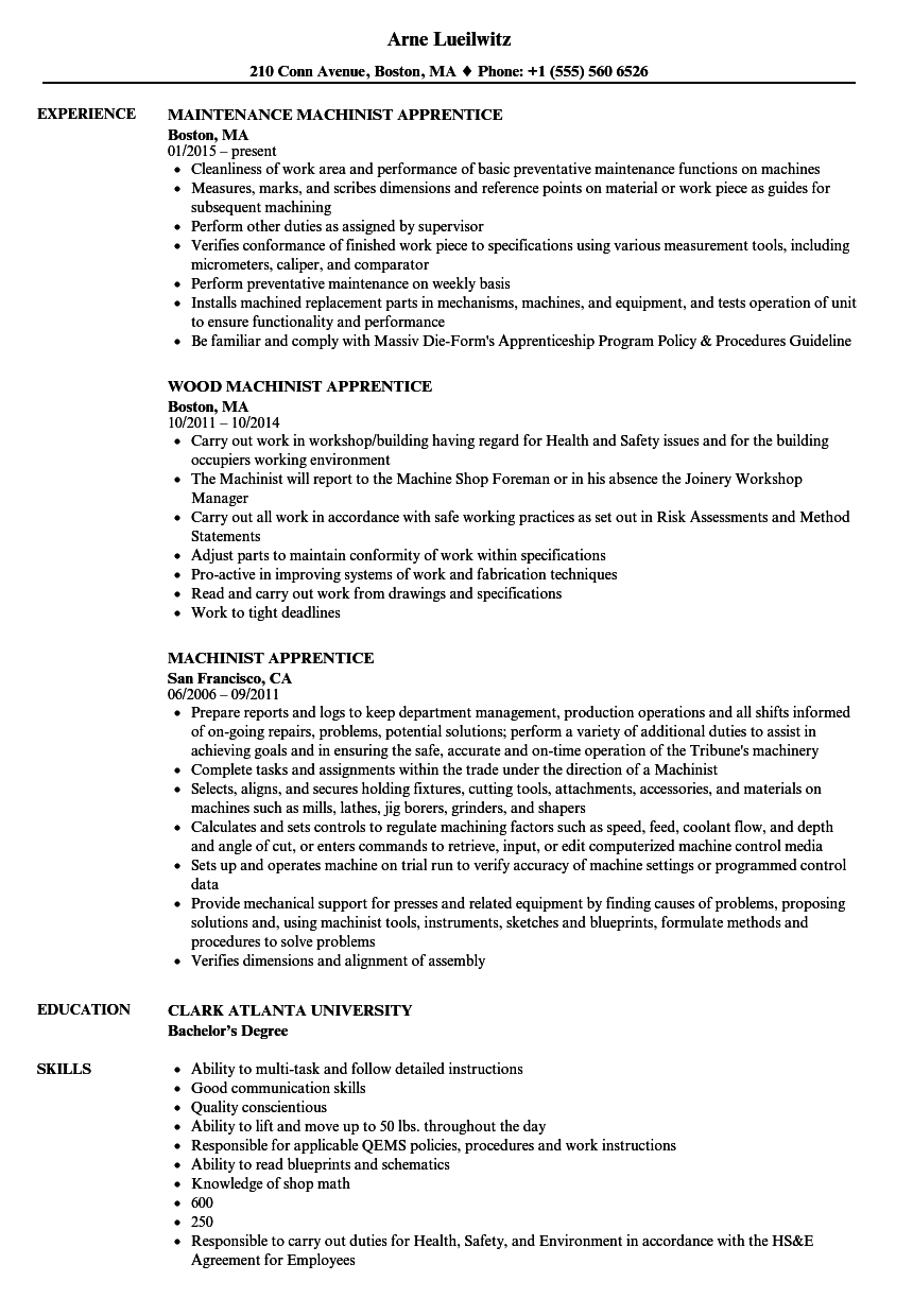 machinist apprentice resume samples