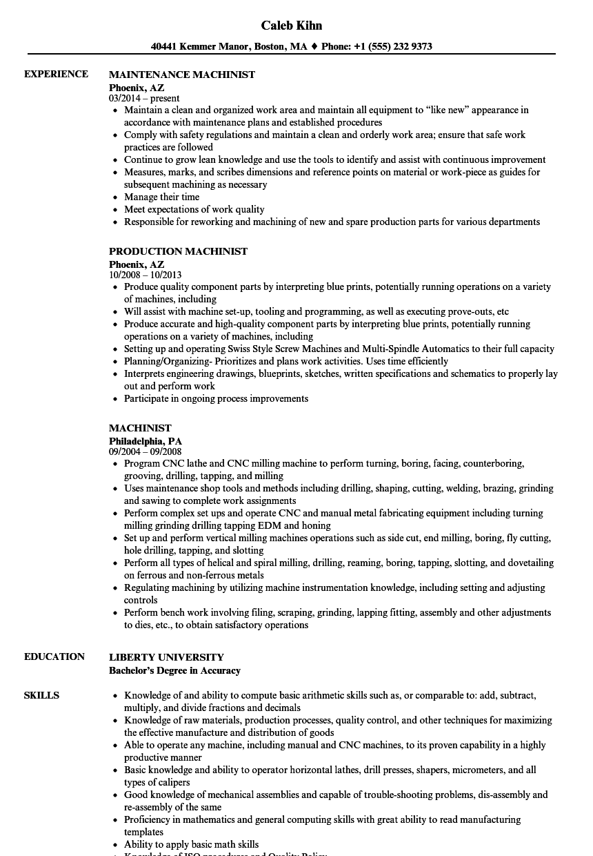 Machinist Resume Samples | Velvet Jobs