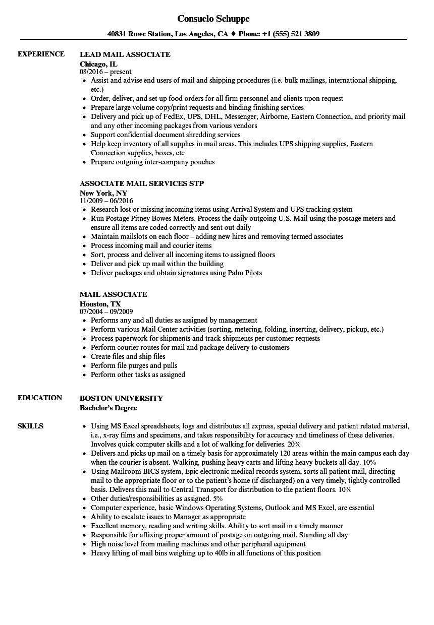mail associate resume samples