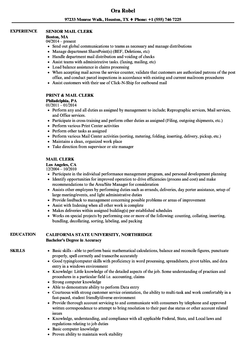 Velvet Jobs  Mail Clerk Resume