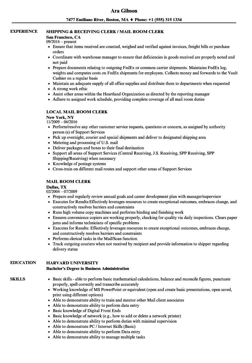mail room clerk resume samples