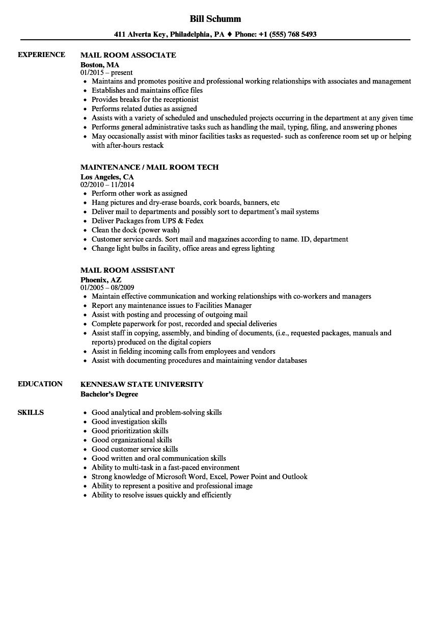 mail room resume samples