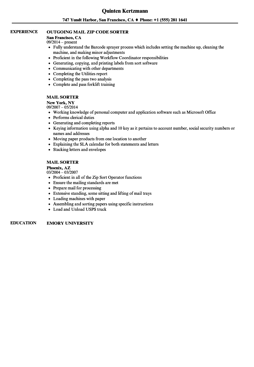 Mail Sorter Resume Samples | Velvet Jobs