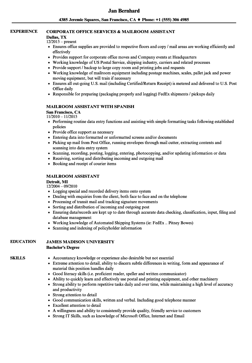 mailroom assistant resume samples