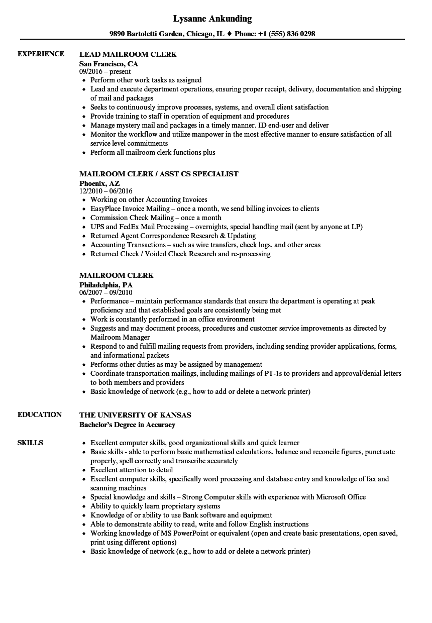 Mailroom Clerk Resume Samples | Velvet Jobs
