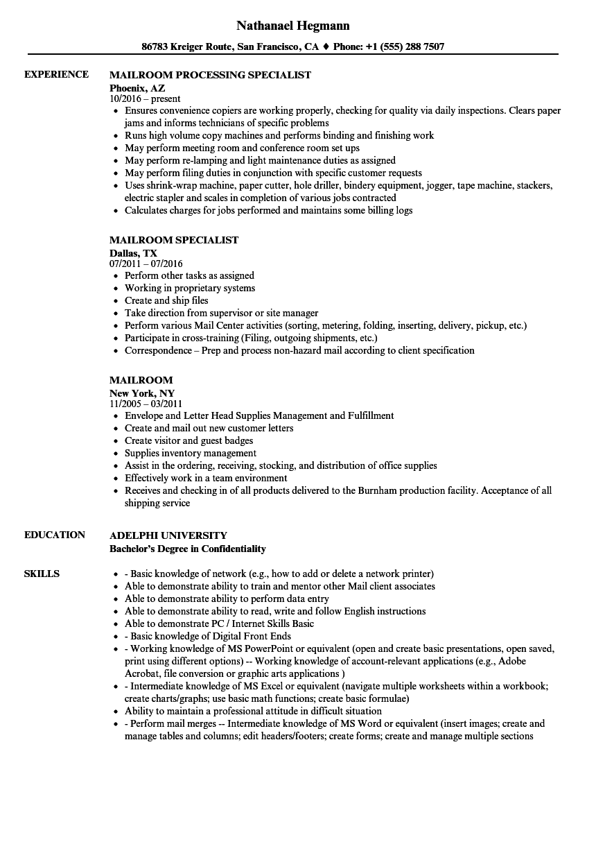mailroom resume samples